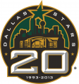 Dallas Stars 2012 13 Anniversary Logo decal sticker