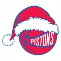 Detroit Pistons Basketball Christmas hat logo iron on sticker