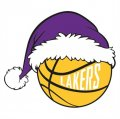 Los Angeles Lakers Basketball Christmas hat logo iron on sticker