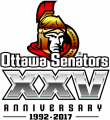 Ottawa Senators 2016 17 Anniversary Logo 02 decal sticker