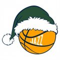 Utah Jazz Basketball Christmas hat logo iron on sticker